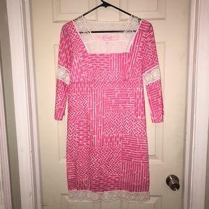 Lilly Pulitzer Chapman Pink White Bamboo Dress